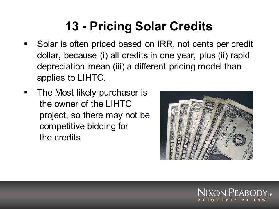 13 - Pricing Solar Credits