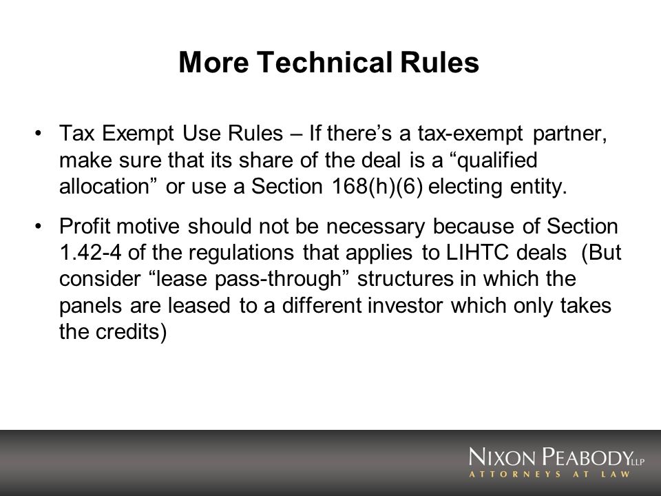 More Technical Rules