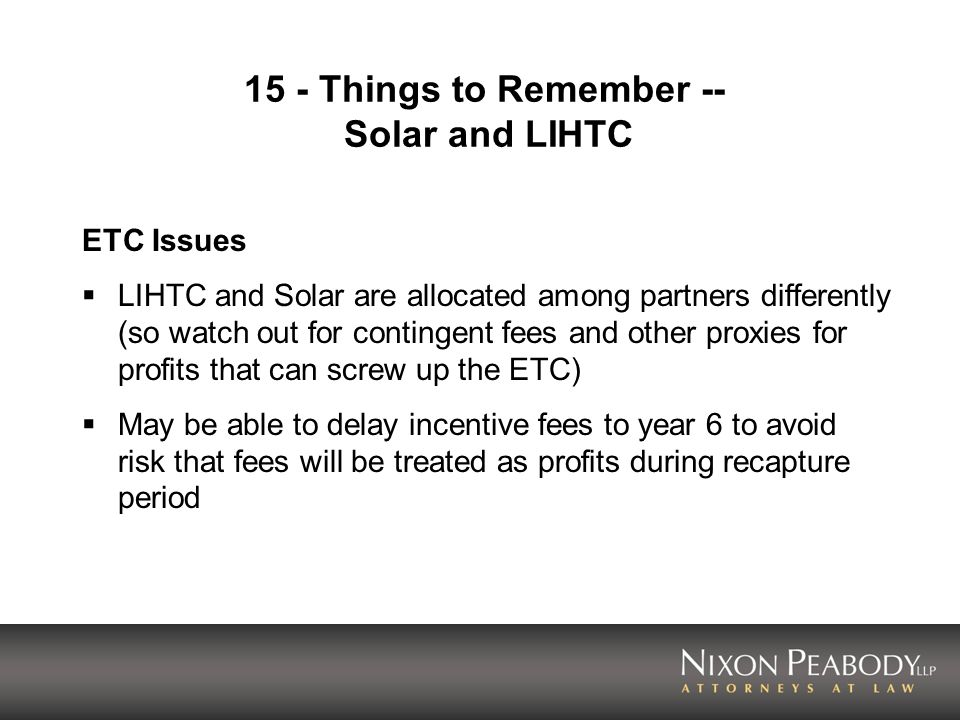 15 - Things to Remember -- Solar and LIHTC