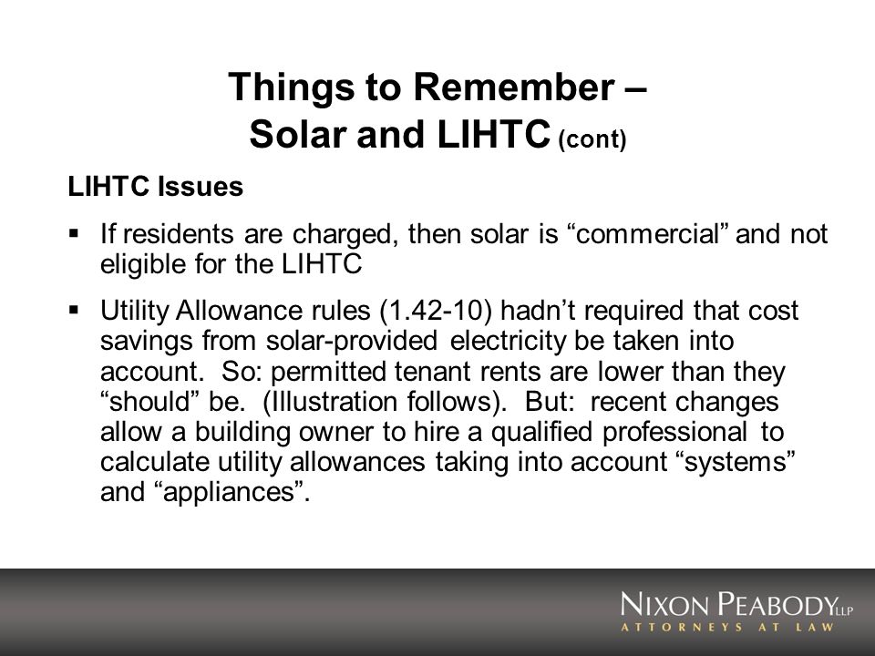 Things to Remember – Solar and LIHTC (cont)