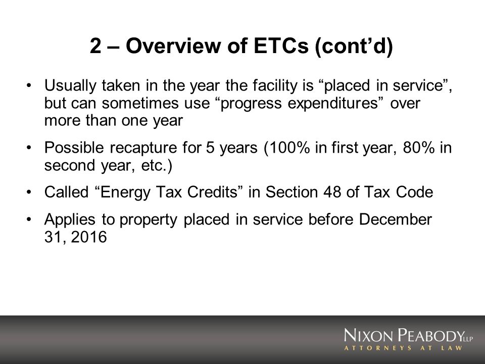 2 – Overview of ETCs (cont'd)
