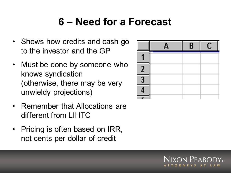 6 – Need for a Forecast Shows how credits and cash go to the investor and the GP.