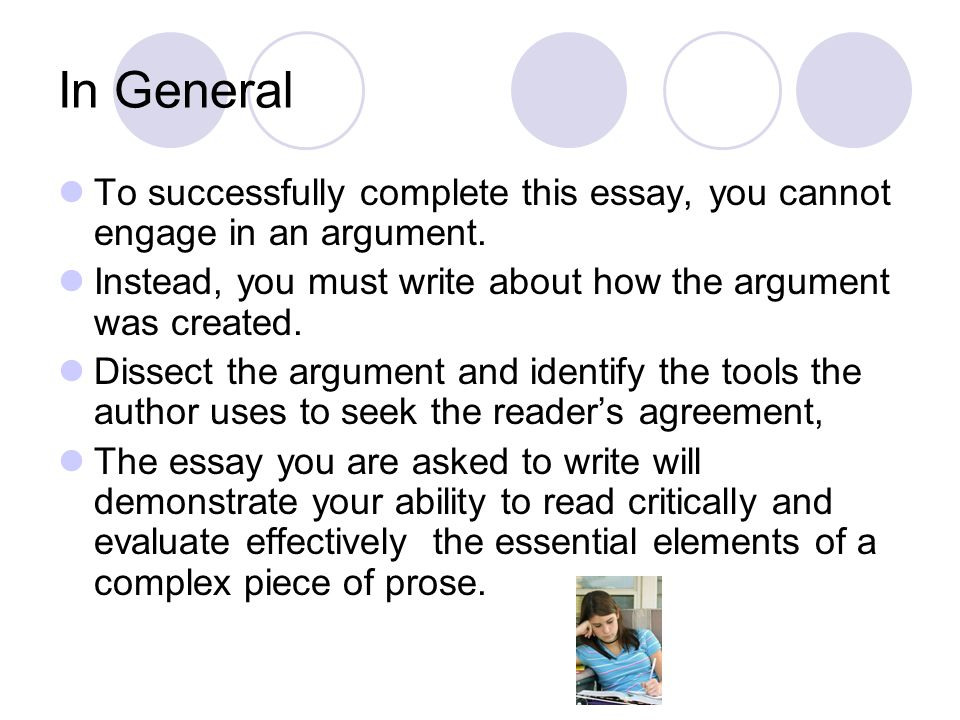 In General To successfully complete this essay, you cannot engage in an argument. Instead, you must write about how the argument was created.