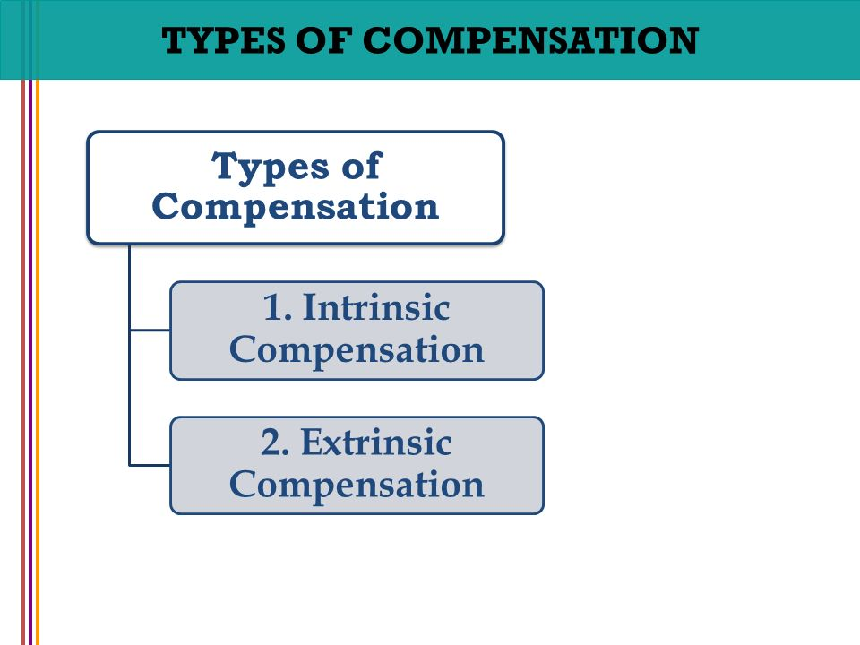 intrinsic compensation Extrinsic compensation is something that someone receives for their services, like wages or bonuses intrinsic compensation is something oneself may feel after completing a task for example, i feel great after volunteering at my local school che.