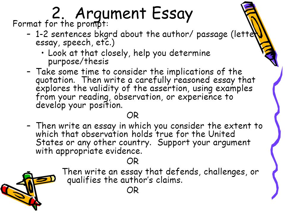 essays of argumentation Writing a thesis and making an argument almost every assignment you complete for a history course will ask you to make an argument your instructors will often call this your thesis -- your position on a subject.