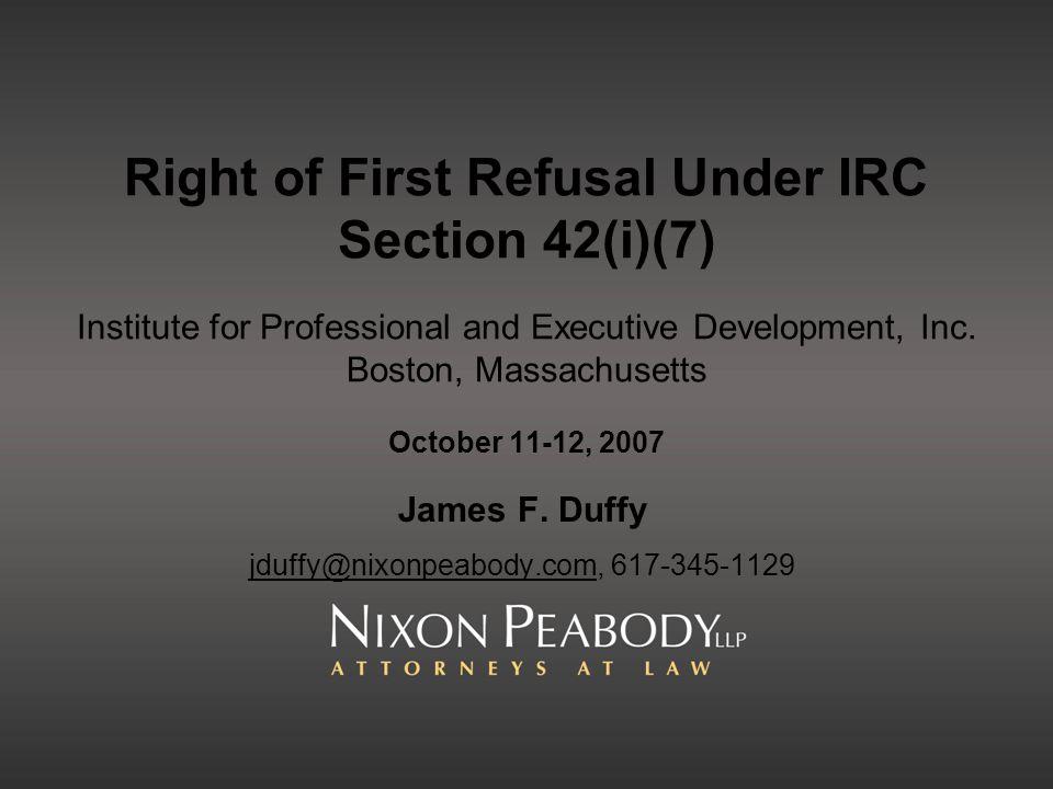 James F. Duffy jduffy@nixonpeabody.com, 617-345-1129