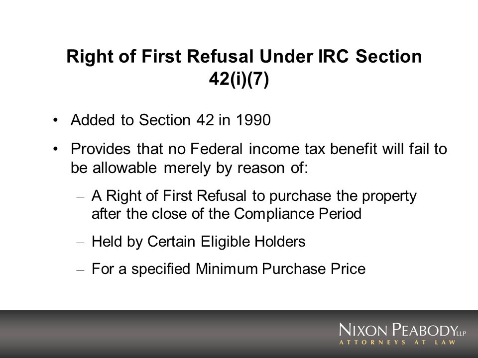 Right of First Refusal Under IRC Section 42(i)(7)