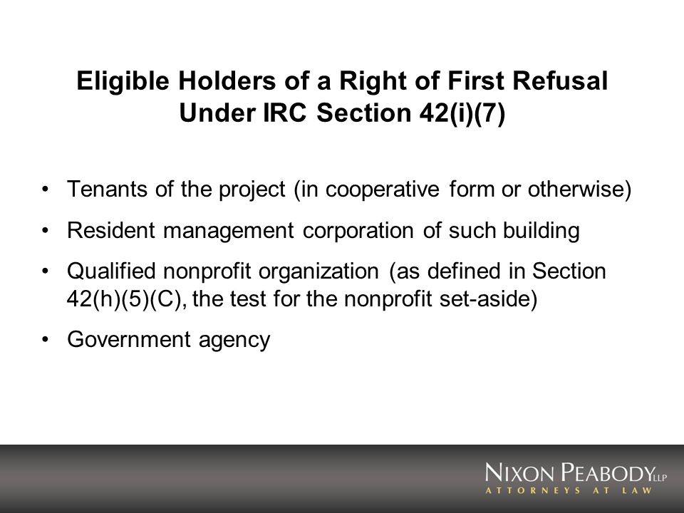 Eligible Holders of a Right of First Refusal Under IRC Section 42(i)(7)