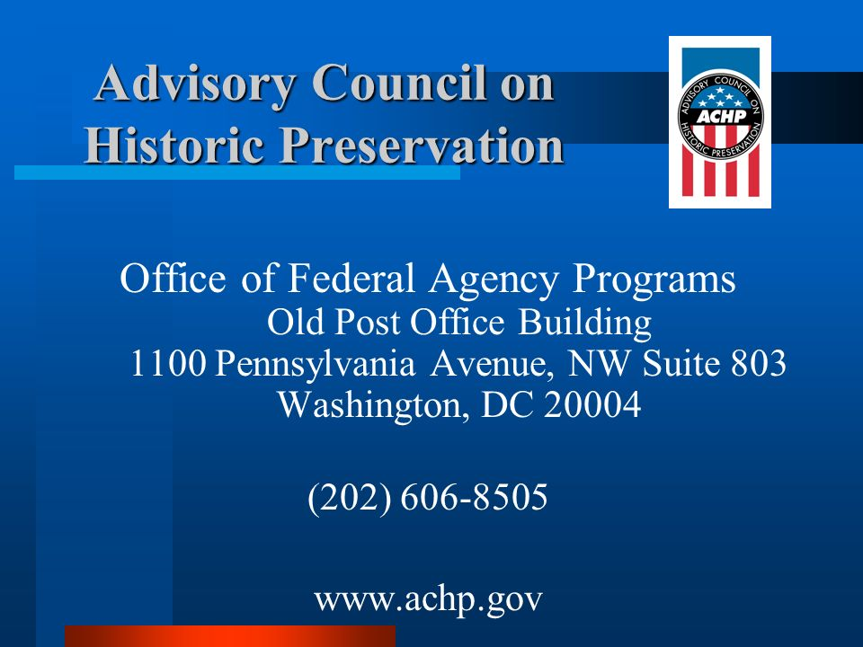Advisory Council on Historic Preservation
