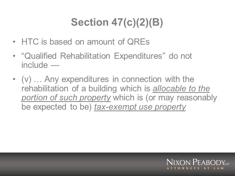 Section 47(c)(2)(B) HTC is based on amount of QREs