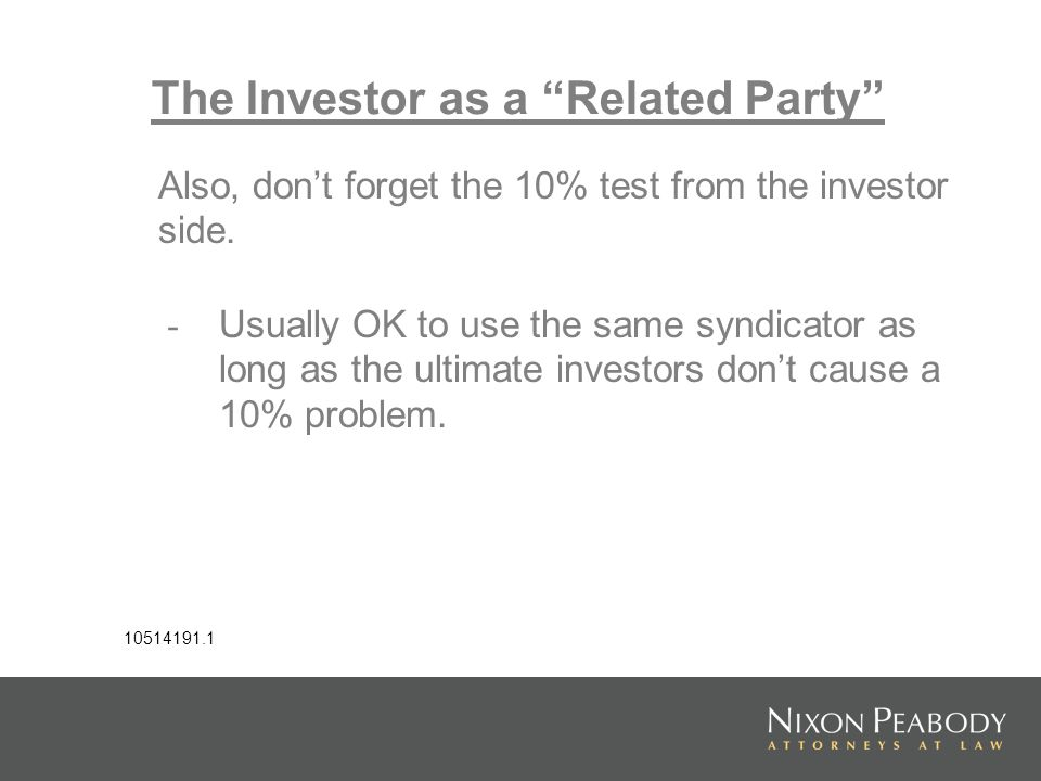 The Investor as a Related Party