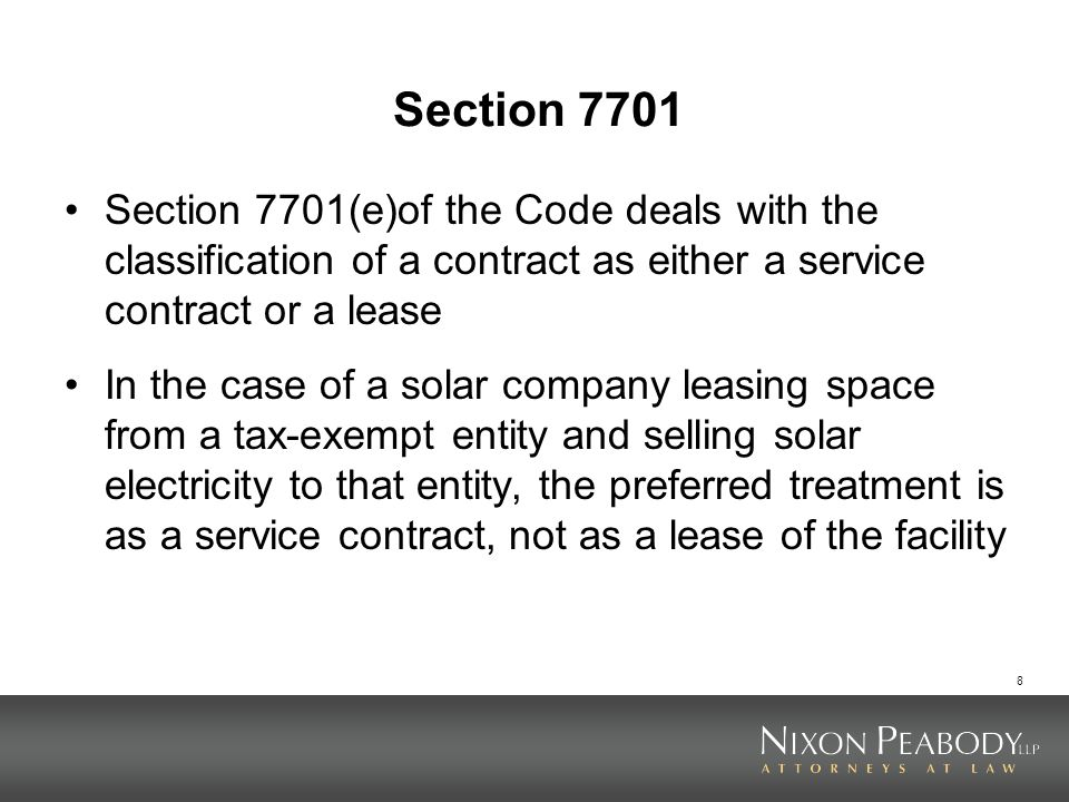 Section 7701 Section 7701(e)of the Code deals with the classification of a contract as either a service contract or a lease.