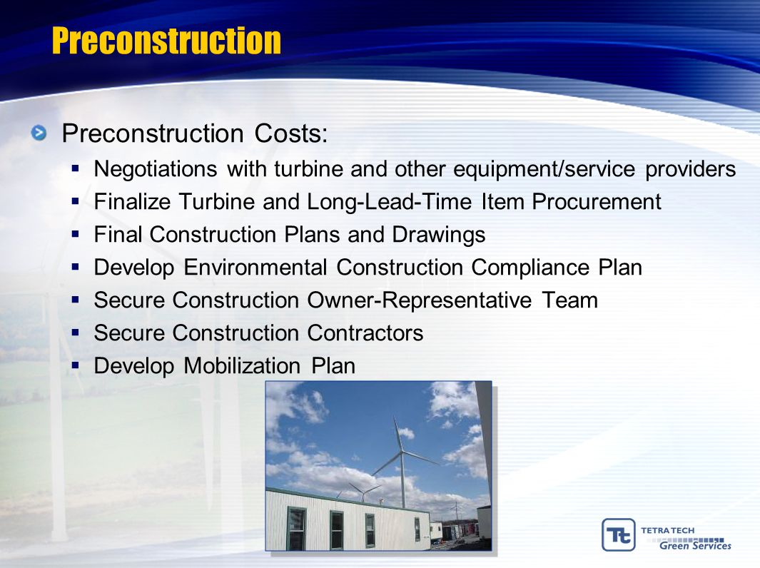 Preconstruction Preconstruction Costs: