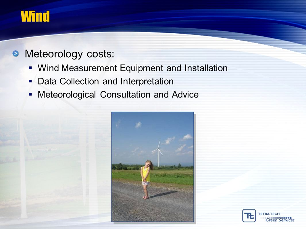 Wind Meteorology costs: Wind Measurement Equipment and Installation
