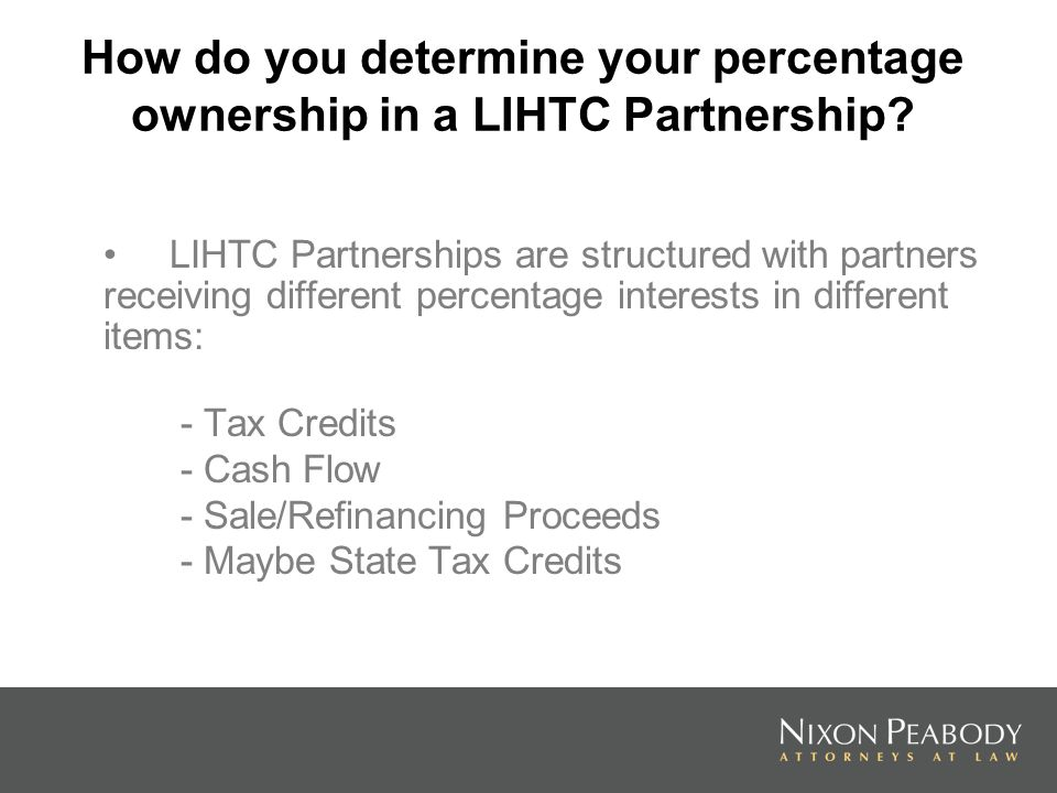 How do you determine your percentage ownership in a LIHTC Partnership