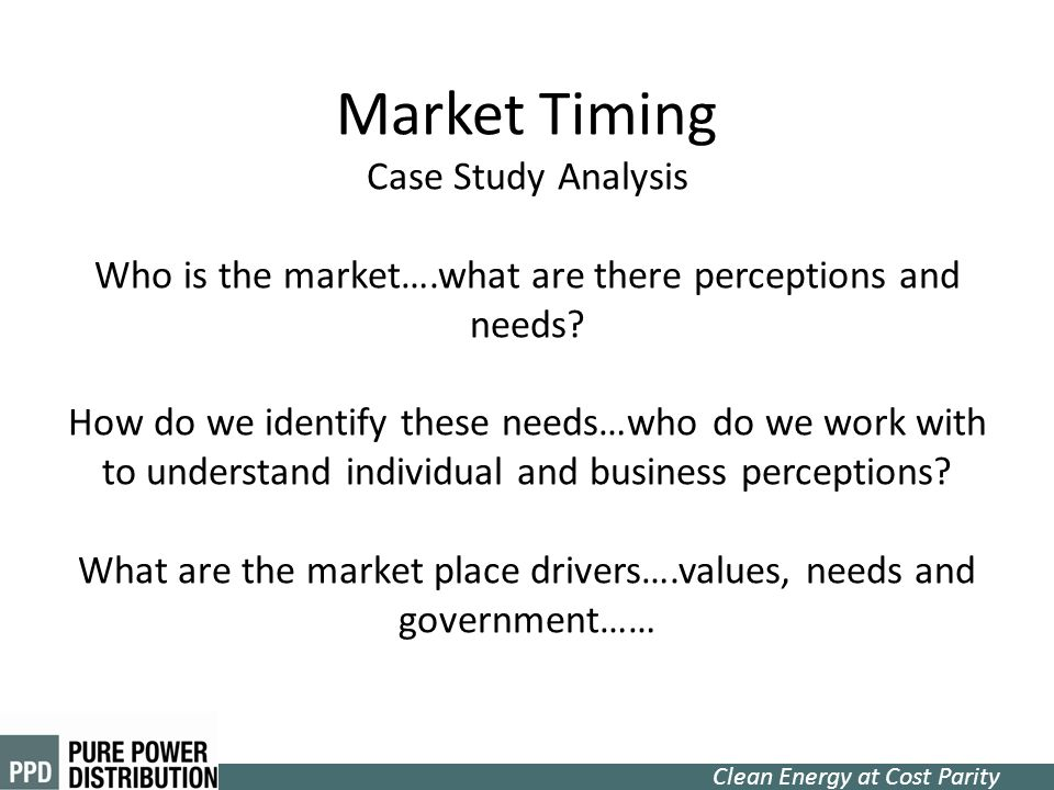 Market Timing Case Study Analysis Who is the market…