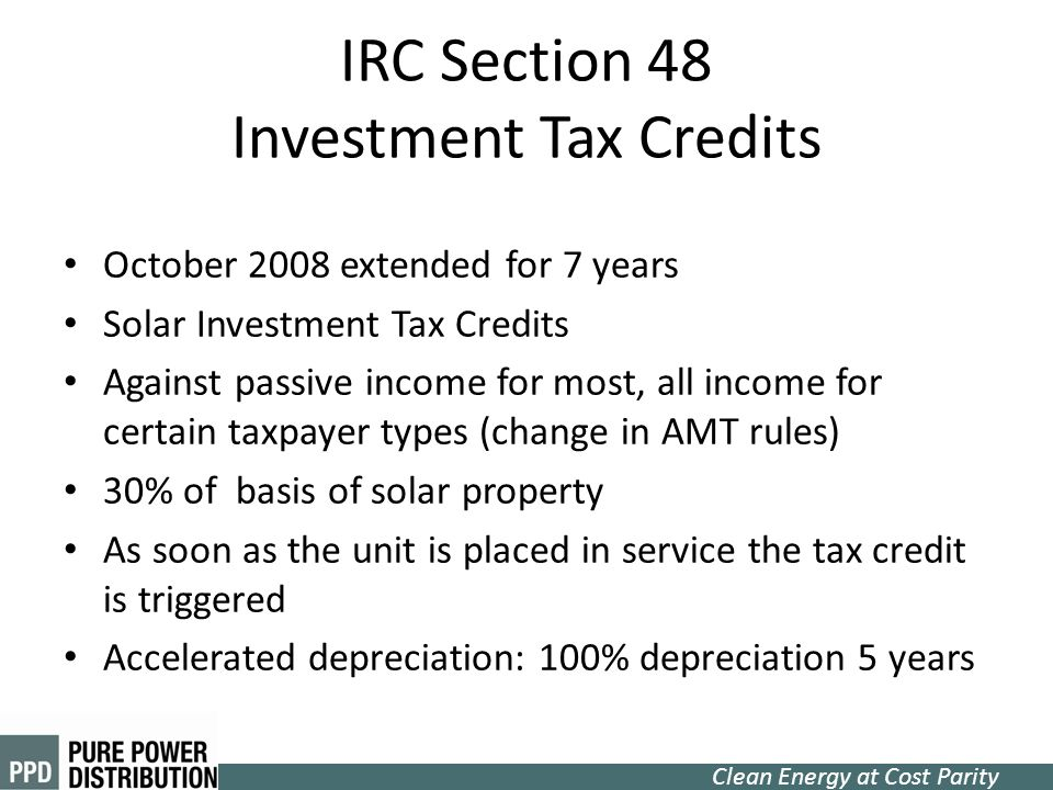 IRC Section 48 Investment Tax Credits
