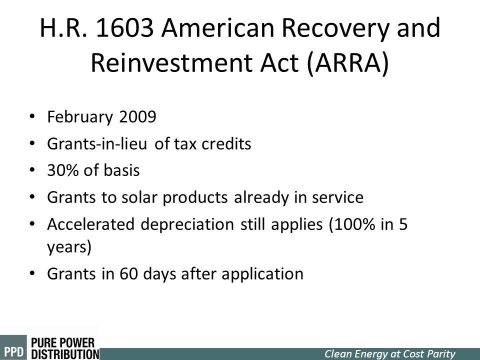 H.R. 1603 American Recovery and Reinvestment Act (ARRA)