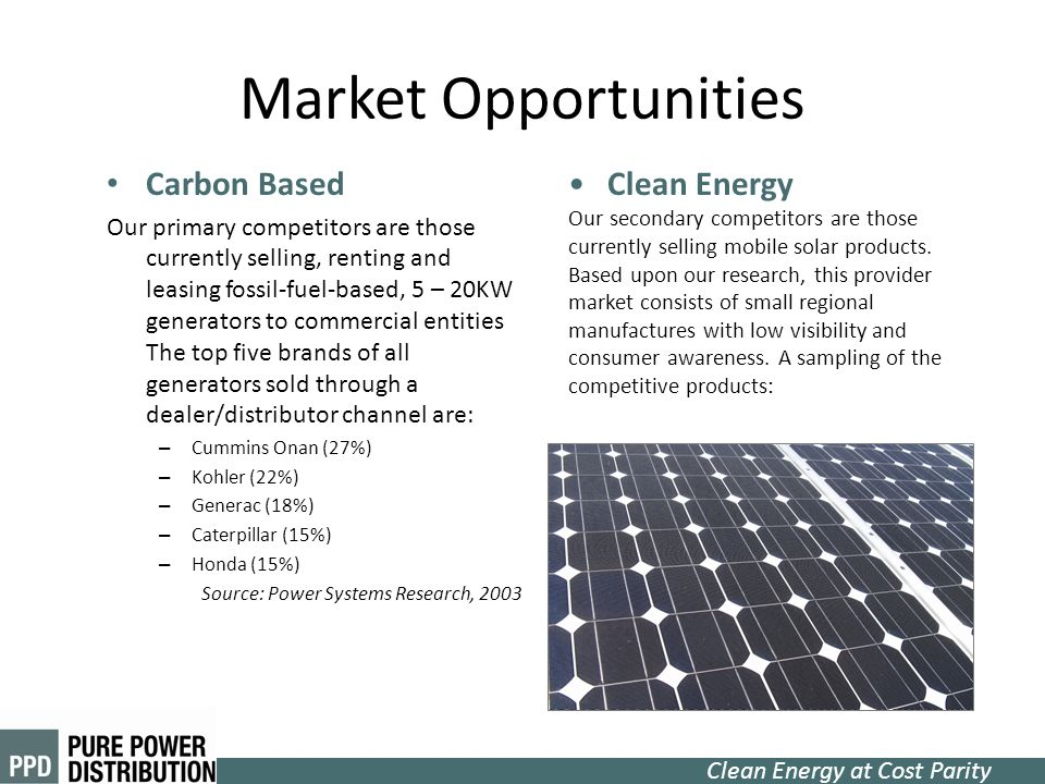 Market Opportunities Carbon Based Clean Energy