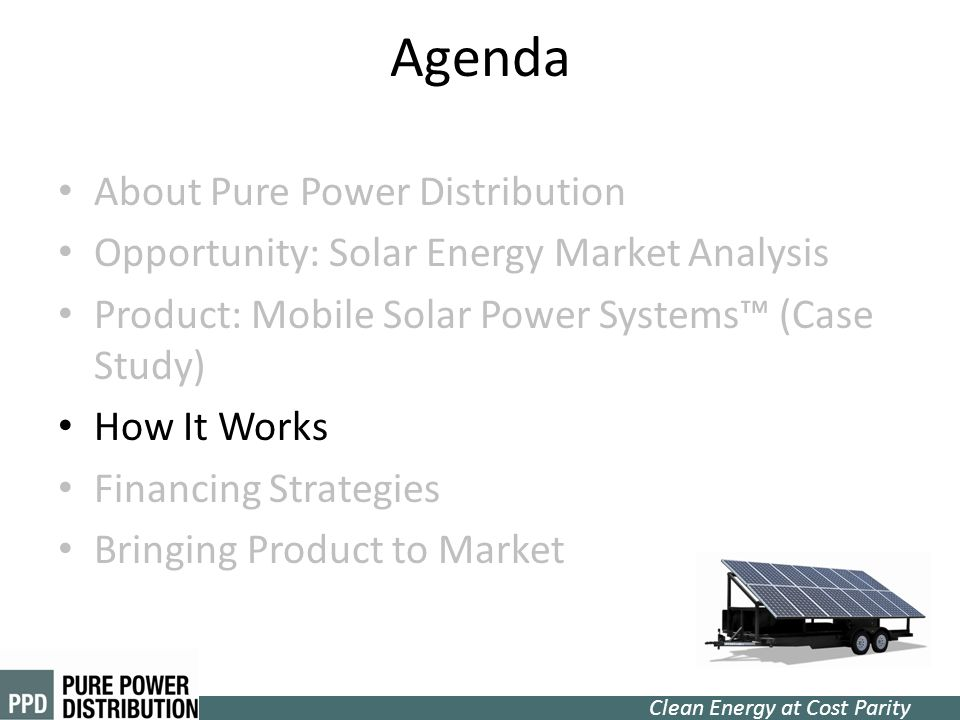 Agenda About Pure Power Distribution