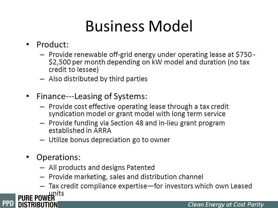 Business Model Product: Finance---Leasing of Systems: Operations: