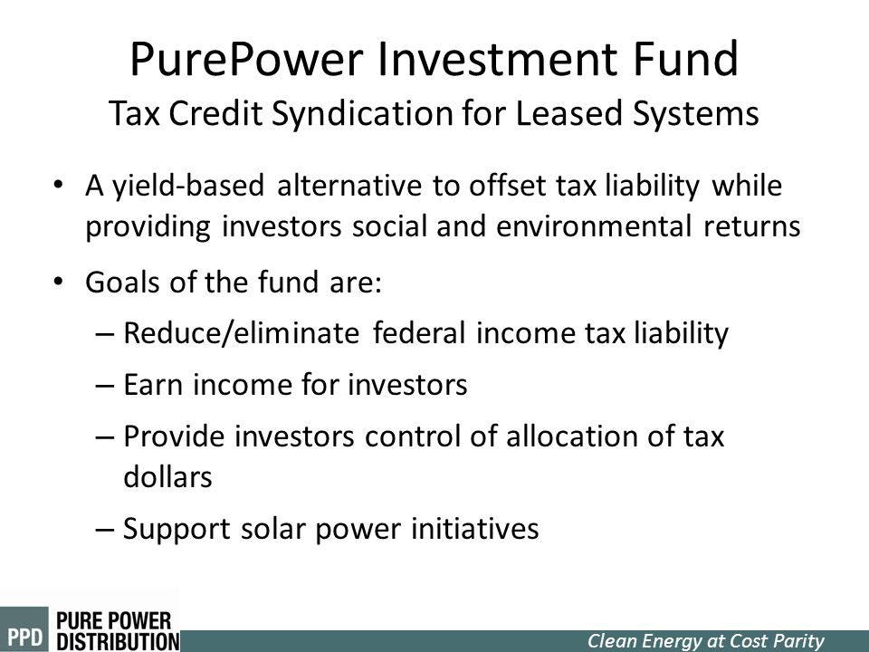 PurePower Investment Fund Tax Credit Syndication for Leased Systems
