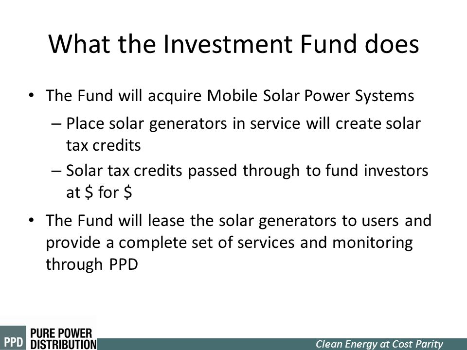 What the Investment Fund does