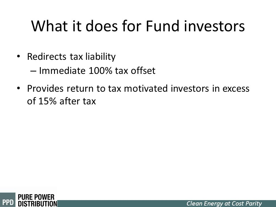What it does for Fund investors