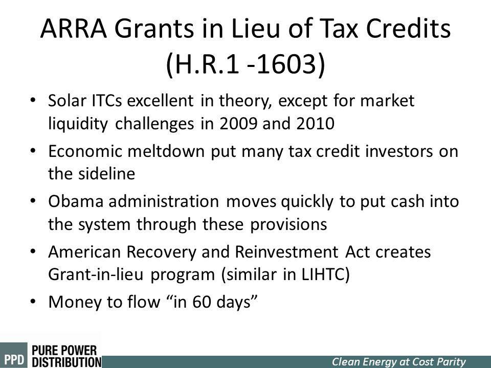 ARRA Grants in Lieu of Tax Credits (H.R.1 -1603)