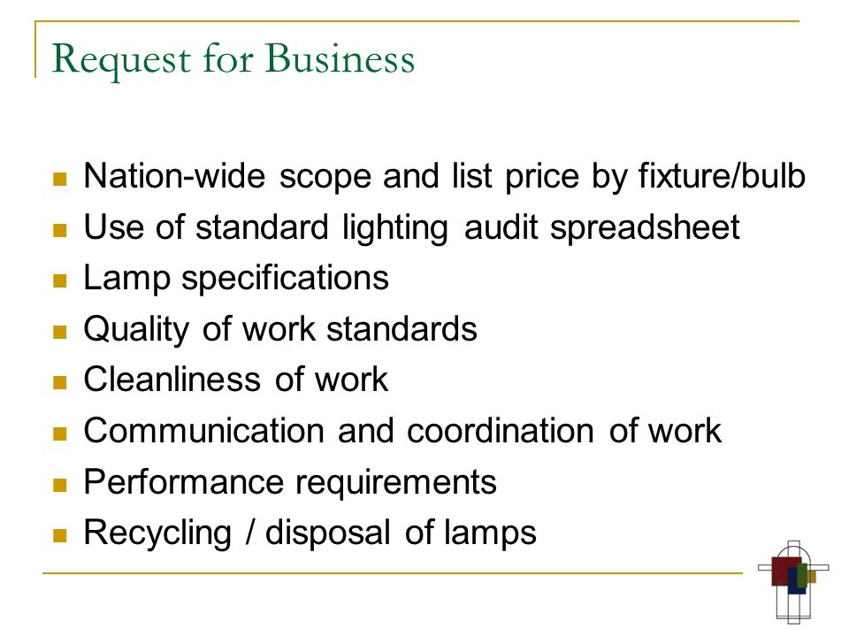 Request for Business Nation-wide scope and list price by fixture/bulb