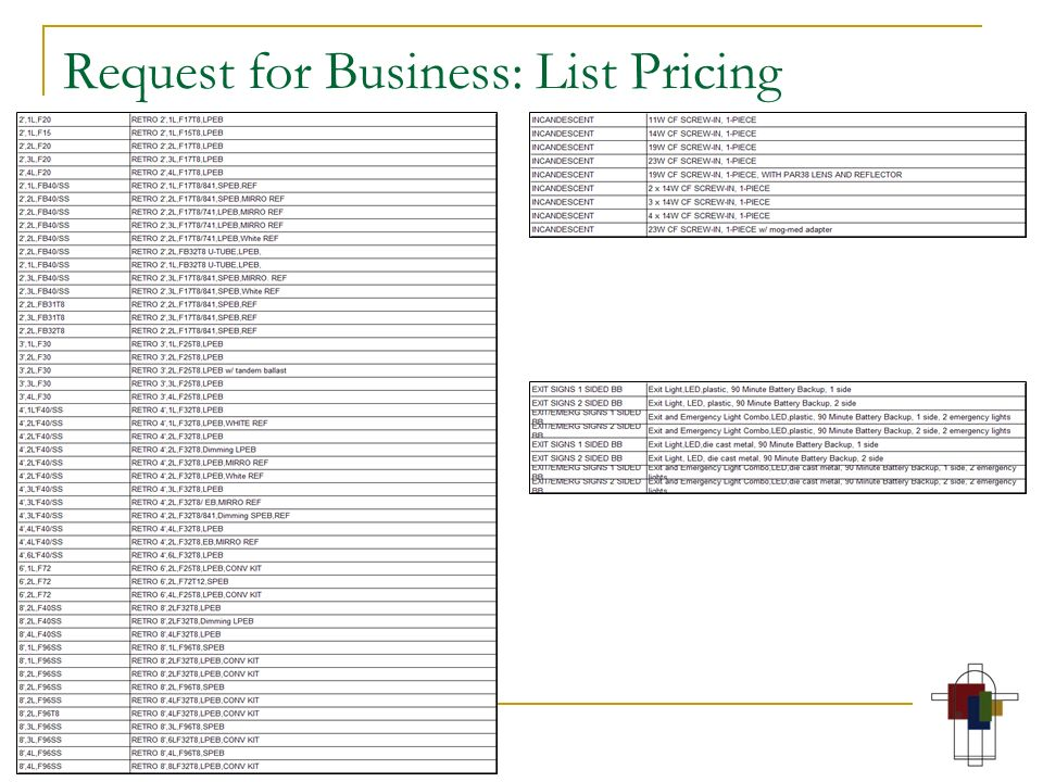Request for Business: List Pricing
