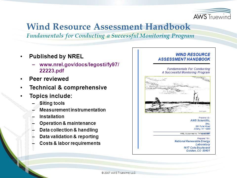 Wind Resource Assessment Handbook Fundamentals for Conducting a Successful Monitoring Program