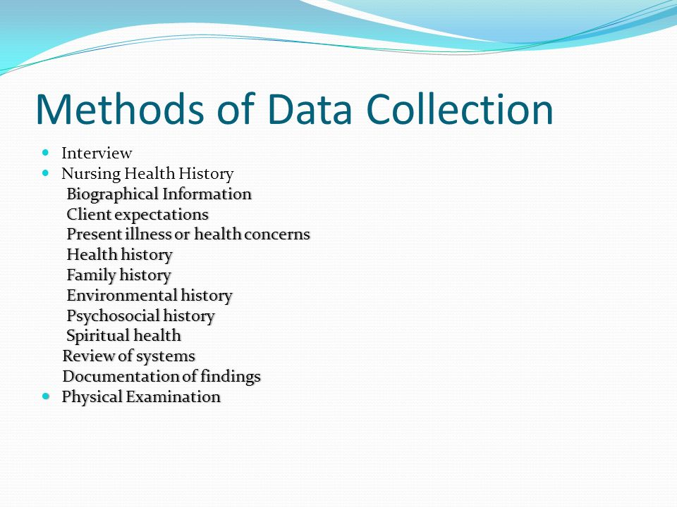 collection and documentation of health history essay Subject or collection type, business, health & medicine, history, literature &  language  the business premium collection is a largely full-text database with  scholarly  the health research premium collection provides access to the  latest  in its size and content, is a unique source of american public  documentation.
