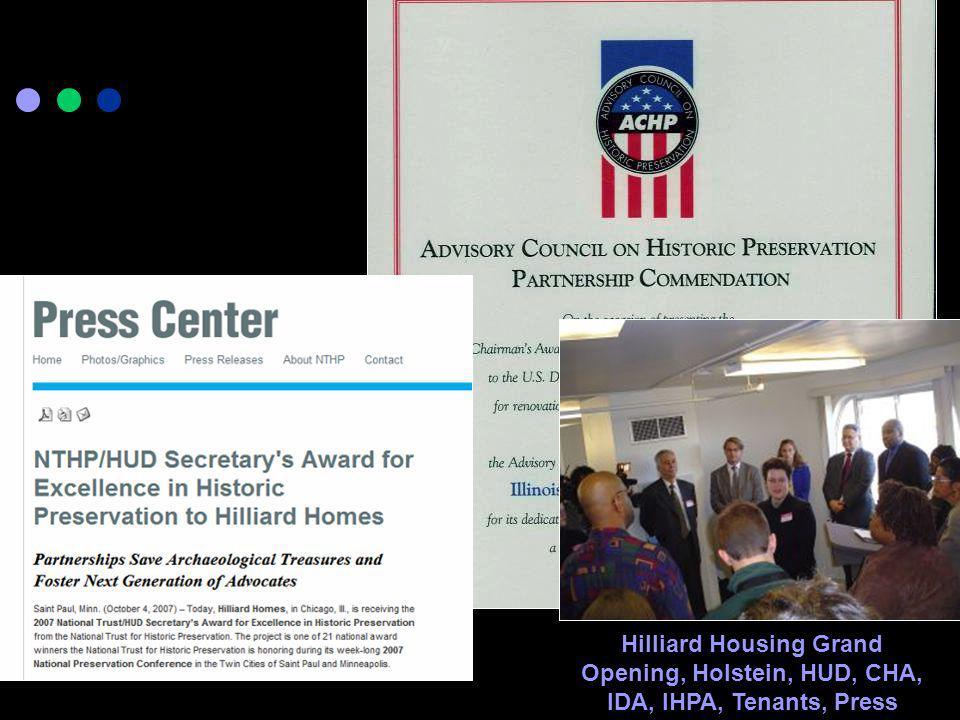 Hilliard Housing Grand Opening, Holstein, HUD, CHA, IDA, IHPA, Tenants, Press