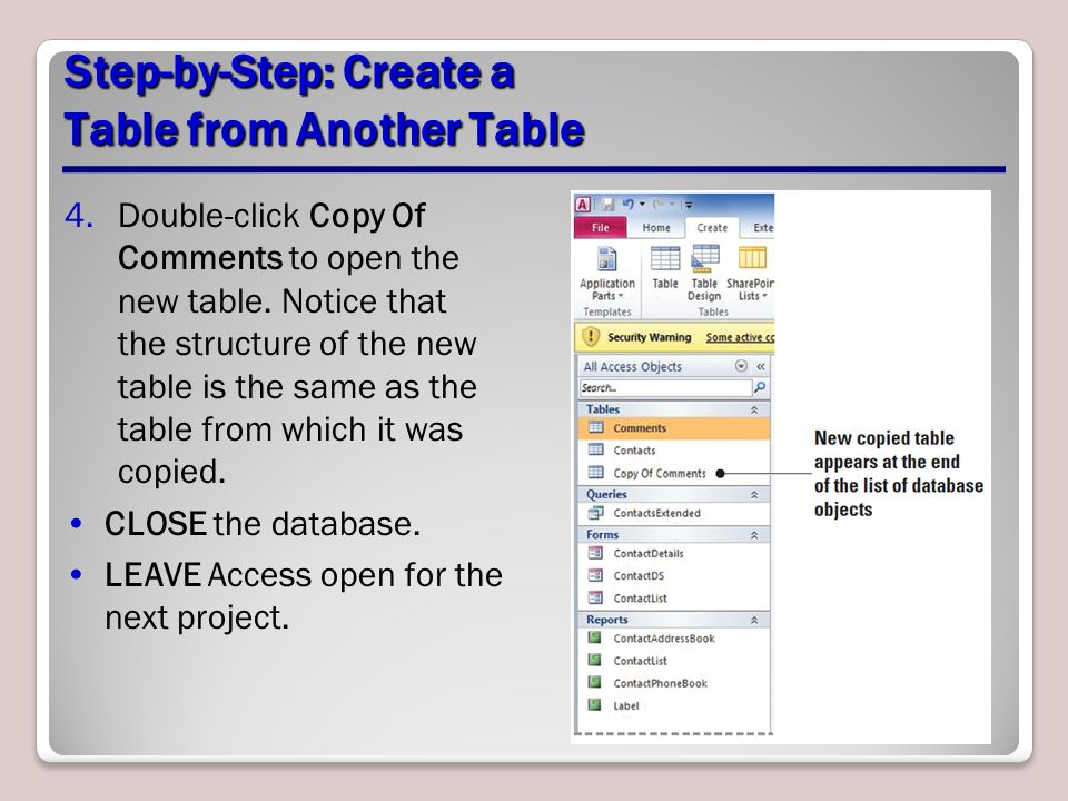 how to create database in access 2007 step by step