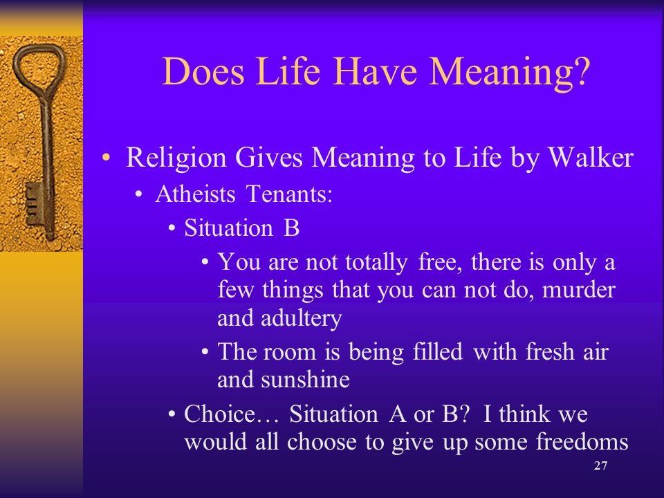 religion and the meaning of life 2 essay The meaning of life in a world without work religion: a real-life game in which we pray to collect virtuous points in his groundbreaking essay.