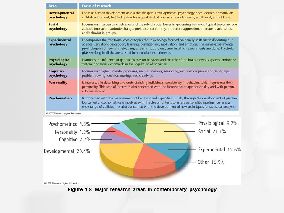 the major areas of psychology The department of education offers an undergraduate major and minor in educational studies for  psychology , for example  major are divided into three areas.