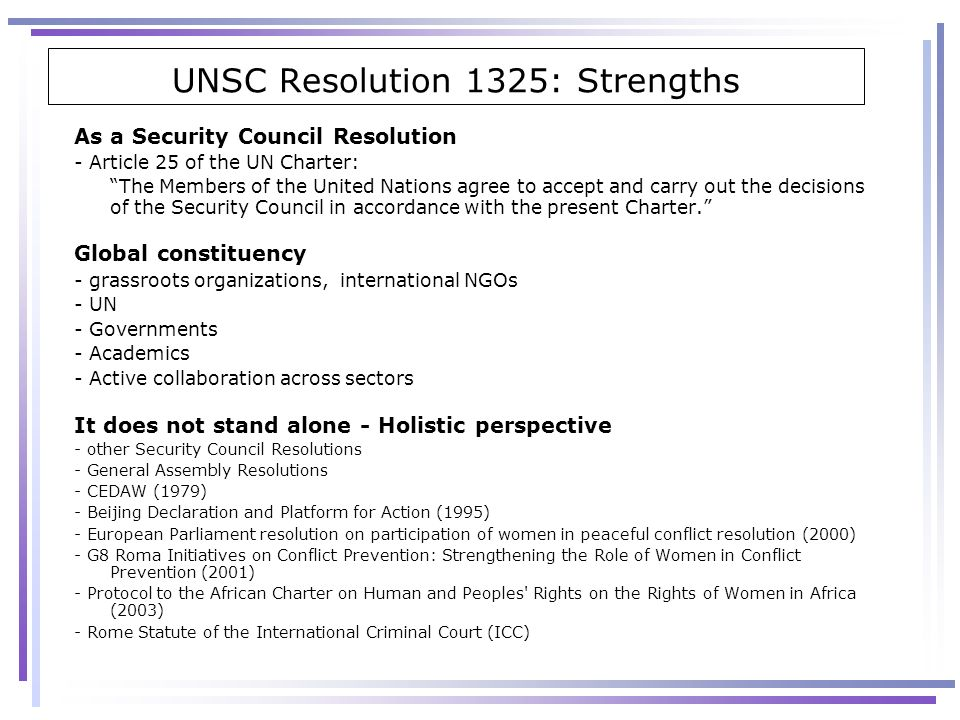 UNSC Resolution 1325: Strengths