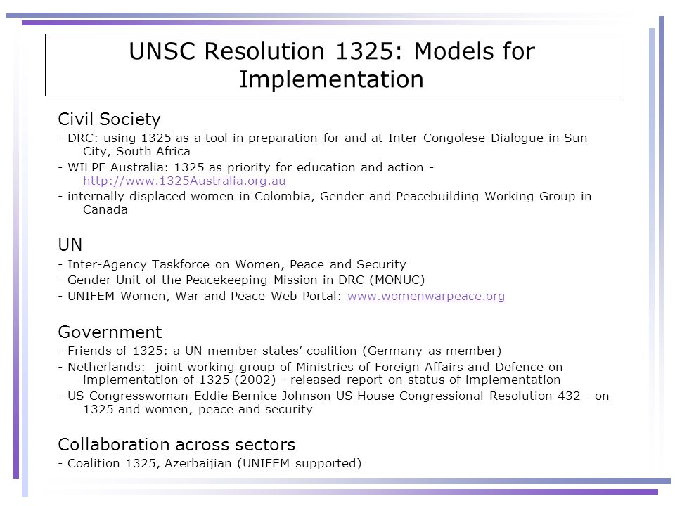UNSC Resolution 1325: Models for Implementation