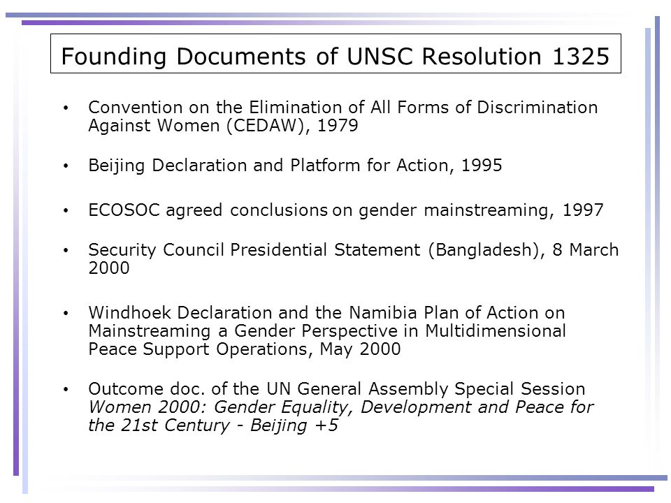 Founding Documents of UNSC Resolution 1325