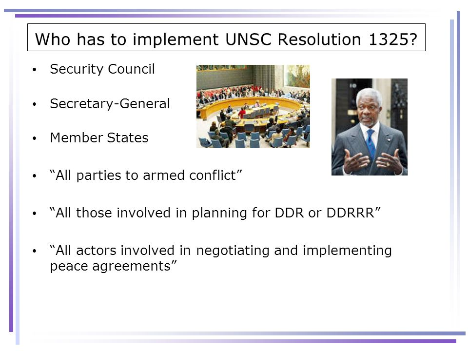 Who has to implement UNSC Resolution 1325
