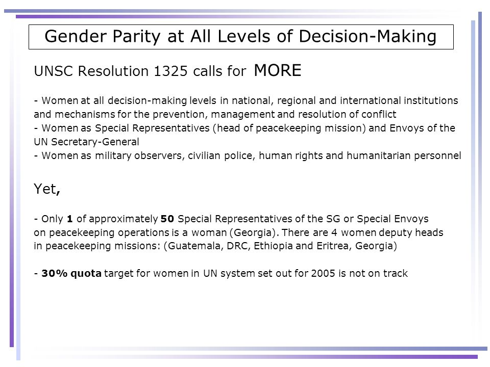 Gender Parity at All Levels of Decision-Making