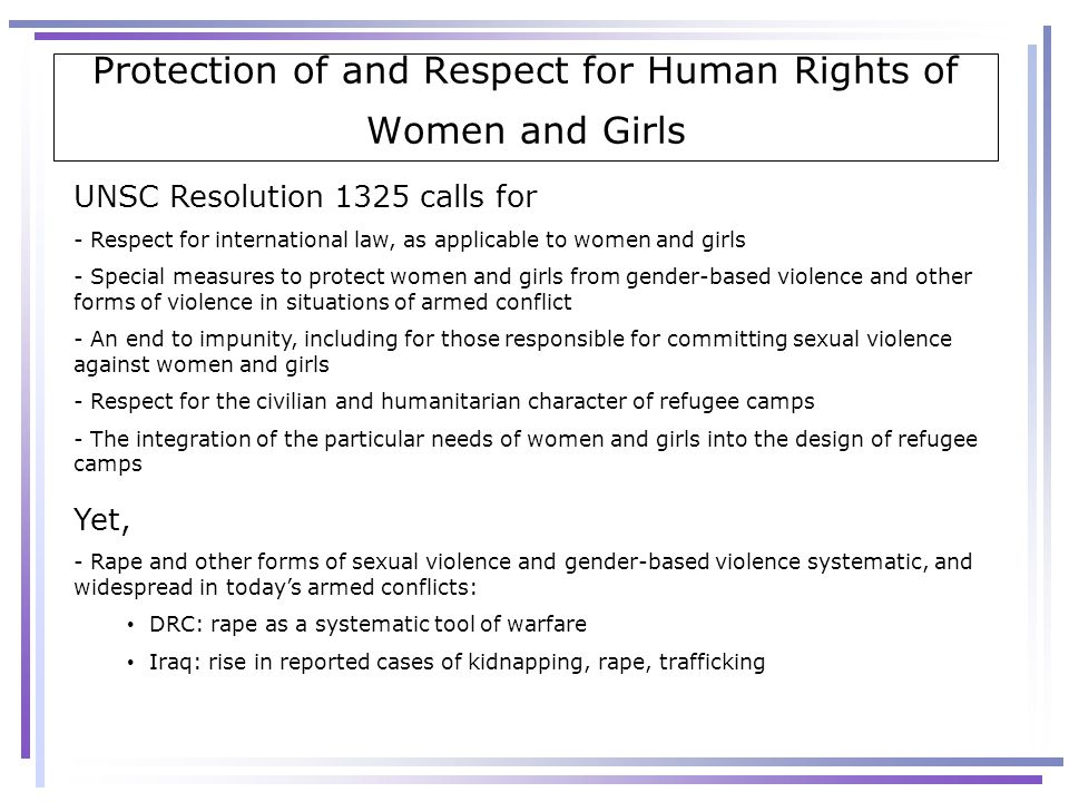 Protection of and Respect for Human Rights of Women and Girls