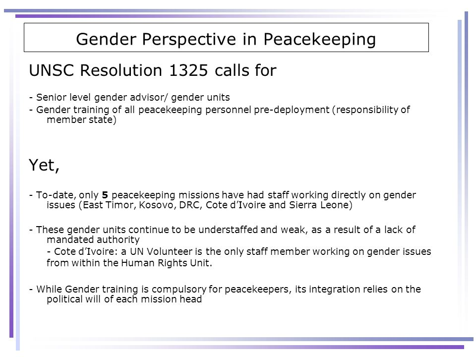 Gender Perspective in Peacekeeping
