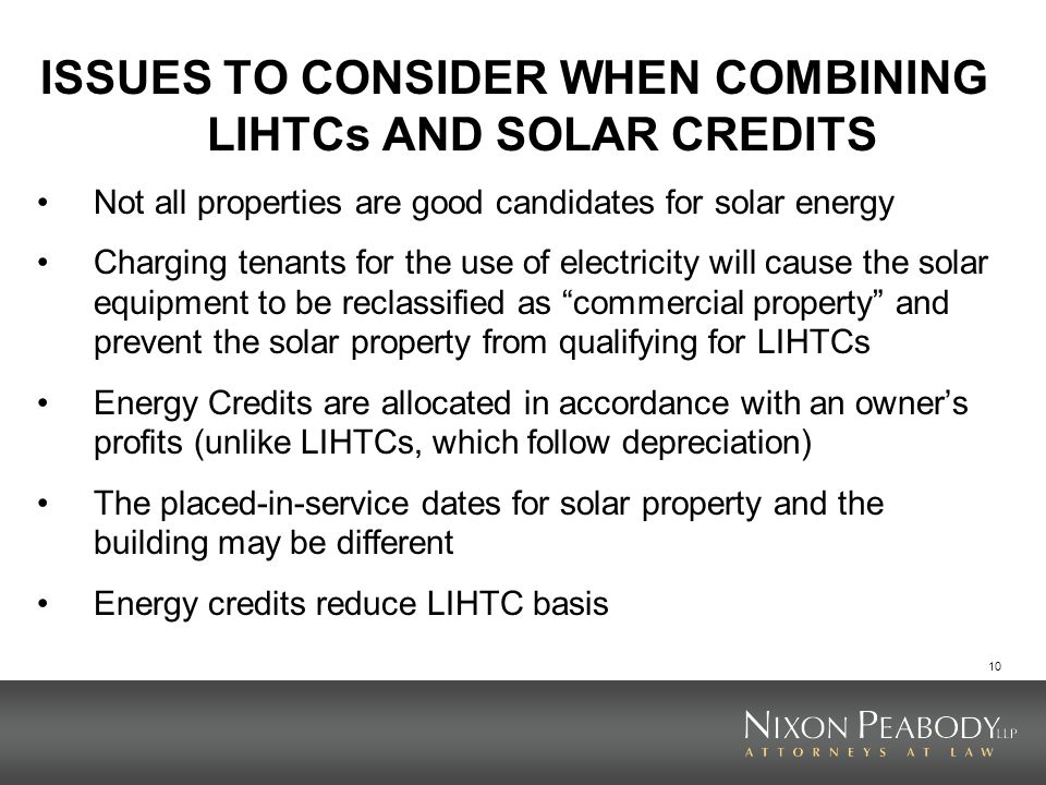 ISSUES TO CONSIDER WHEN COMBINING LIHTCs AND SOLAR CREDITS