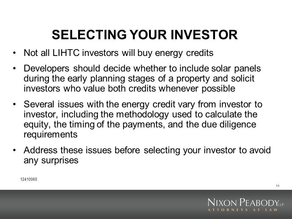SELECTING YOUR INVESTOR