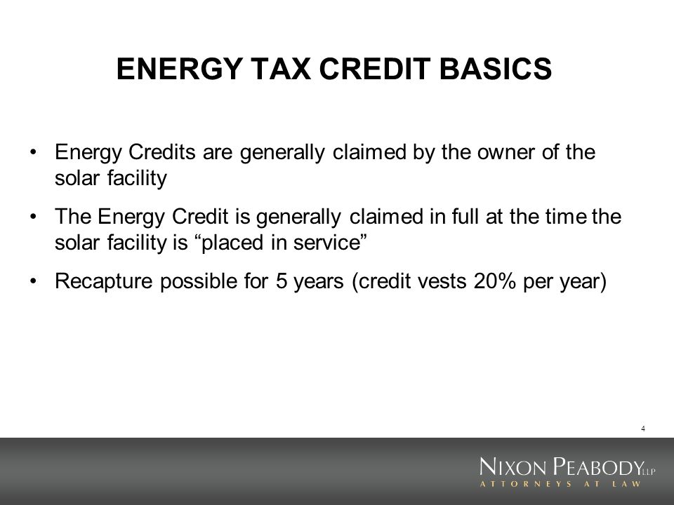 ENERGY TAX CREDIT BASICS