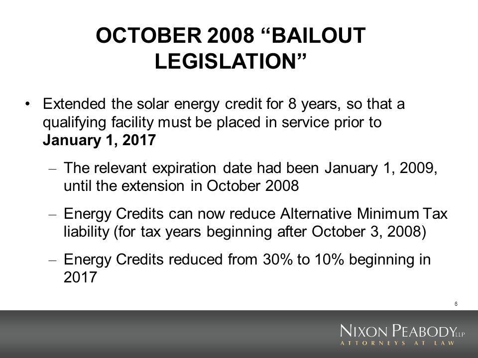 OCTOBER 2008 BAILOUT LEGISLATION
