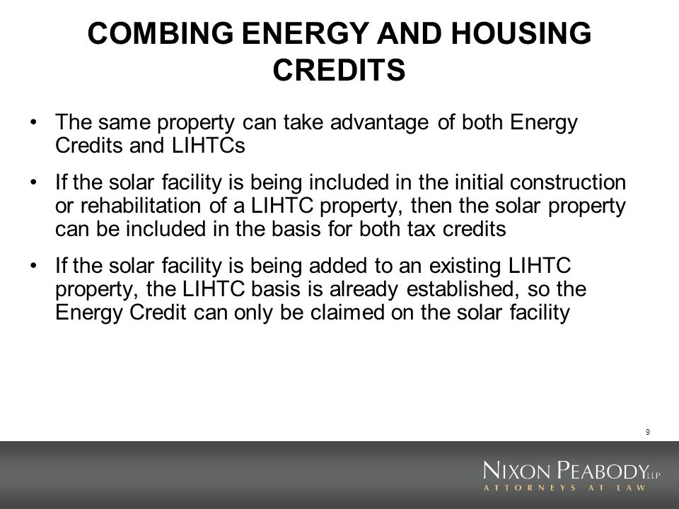 COMBING ENERGY AND HOUSING CREDITS