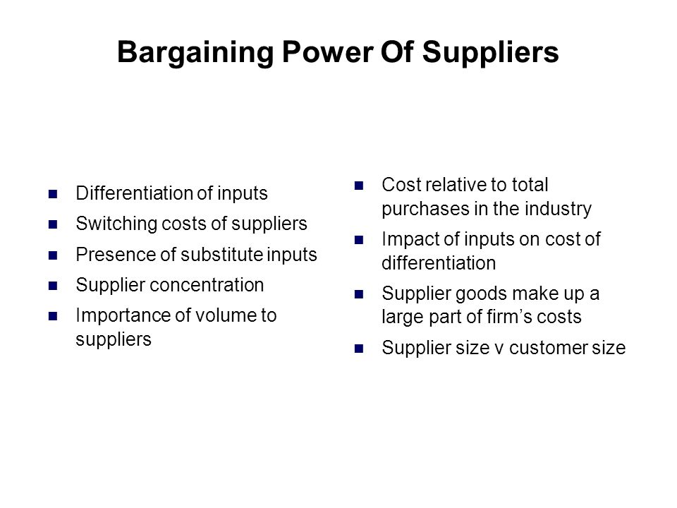 bargaining power of supplier Bargaining power of suppliers at a very basic level the airline industry suppliers are limited in two areas: actual purchase of places and the supply of fuel ryanair has a very healthy relationship with the main aeroplane supplier, boeing.